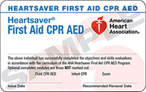 Heartsaver First Aid, CPR, AED training